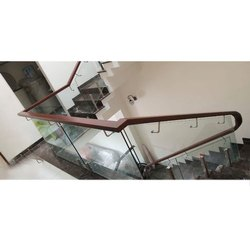 Stairs Brown Wooden Glass Railing