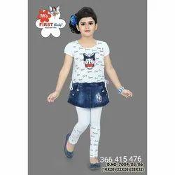 Printed Casual Wear Kids Girls Skirt Legging