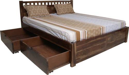 Brown Solid Wood King Size Storage Bed Rs 36999 Piece