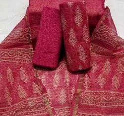 Bagru Hand Block Printed Kota Doria Suit Materials
