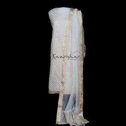 White Pure Silk Work Suit