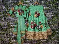 Green Printed Lehenga Choli