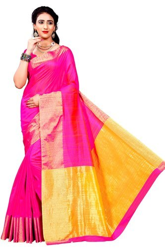 e7b4473ff65cbc Banarasi Silk Half fine Zari Gold Weavedeal Exclusive Pink Linen Silk Saree  With Blouse Piece