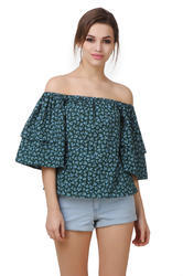Ladies Western Flared Off Shoulder Top