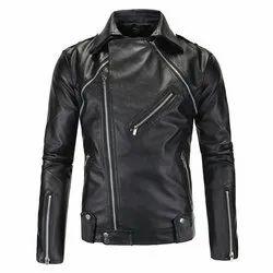Full Sleeve Black Mens Leather Biker Jacket