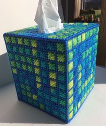 Blue Embroidery Paper Square Box