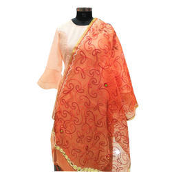 Orange Embroidered Dupatta