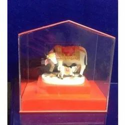 Jiya Hut Shape Acrylic Kamdhenu Cow Donation Box