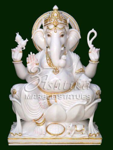 White Jaipur Ganesh Marble Idol Rs 18000 Piece Ashtika Marble