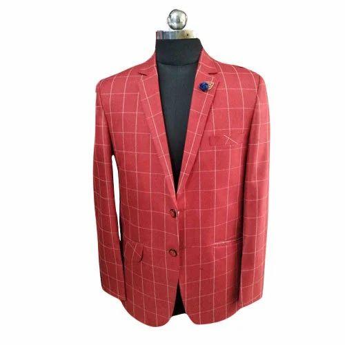 81fcc332d85 Men  s Satin Red Check Party Wear Blazer