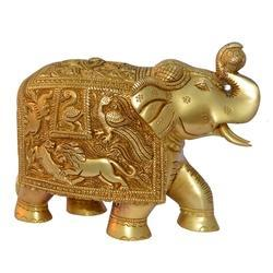 Yellow Brass Elephant Statue For Gift and Decor Figure
