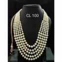 CL Code White Synthetic Beads Multilayer Ethnic Fashion Jewellery Necklace