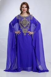 Blue Farasha dress with heavy embroidery work