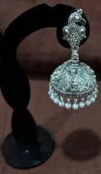 Black Oxidized Antique Silver Jhumka
