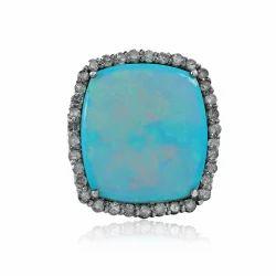 Natural Ethiopian Opal Pave Diamond 925 Silver Beautiful Ring Jewelry