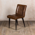 Brown Industrial Leather Dining Chair, For Home, Set Size: Single