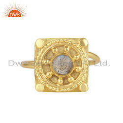 Labradorite Gemstone New Yellow Gold Plated Silver Ring Jewelry