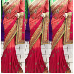 Designer Pure Georgette Embroidery Saree