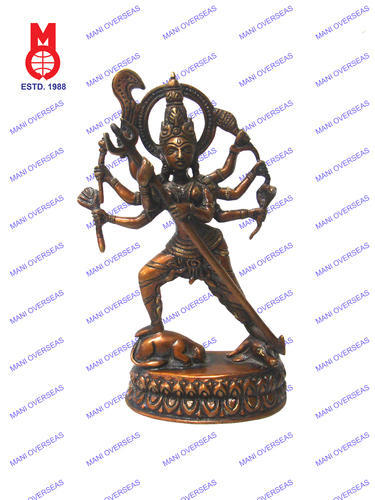 Multicolor Brass Goddess Durga Standing On Buffalo Statue