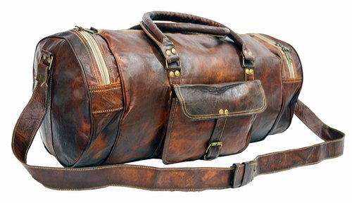 615ee843ea17 Leather Bag Vintage Genuine 22'' Round Duffle Cum Gym Bag by Znt Bags