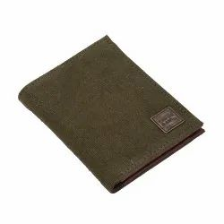 Canvas & Awl Men's Canvas Wallet Notecase With Genuine Leather Trim 10 Card Slot RFID Wallet Green