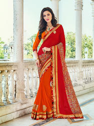 Georgette Red and Orange Printed Surat Saree