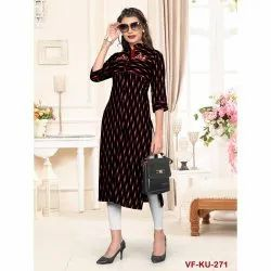 Rayon Party Wear Printed Embroidered Kurti