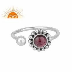 Red Garnet Gemstone Designer Oxidized 925 Silver Antique Ring Jewelry