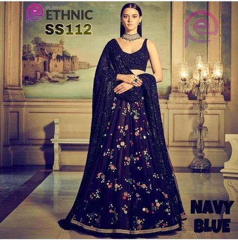 Indian Ethnic Designer Pure Net Multi Color Party Wear Lehenga at Rs ...