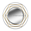 Golden Designer Metal Mirror For Home Decoration, Shape: Circular