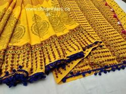 Block Printed Cotton Saree with Pompom Lace