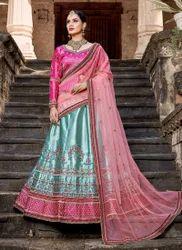 Pure Satin Resham Work Designer Wedding Lehenga