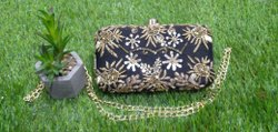 Black Zardosi Fabric Box Clutch Bag