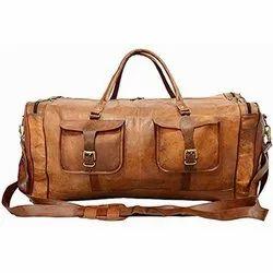 Brown Plain Leather Druffle Travel Bag