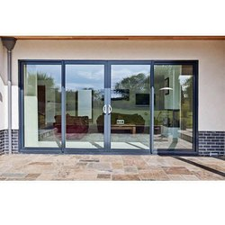 Aluminium(Frame) Grey Aluminium Glass Sliding Door, Exterior