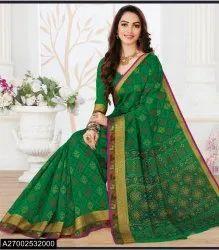 Kalamkari Floral Print Cotton South Indian Saree