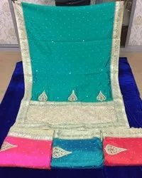 Dot Exports Traditional Silk Embroidery Jaal Sarees, With Blouse Piece
