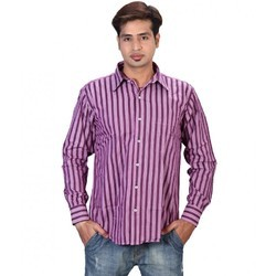 Cotton Purple Pink With Black Lines Full Sleeve Casual Shirt