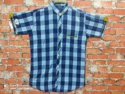 Checks Collar Neck Mens Half Sleeve INDIGO CHEX Cotton Shirt, Machine Wash,Hand Wash
