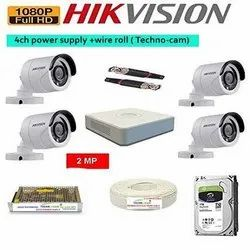 HIKVISION Full HD 2MP Cameras Combo KIT- 4 Camera 4 Channel DVR, For Outdoor Use