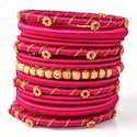 Indian Handcraft Pretty Little Pearls Silk Thread Bangles
