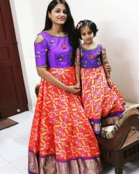 Embroidered Mom And Daughter Dress