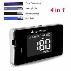 4 in1 EXCLUSIVE Multi Diagnostic system For Blood Sugar , Hemoglobin, Uric Acid, Cholesterol