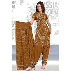 Brown Bandhani Suit