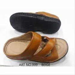 Beige Men's Casual Wear Velcro Leather Slipper