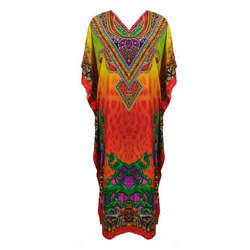 Digital Printed V Neck Kaftan