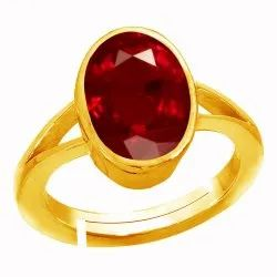 Ruby Stone Ring Gold Plated Panchdhatu Gemstone