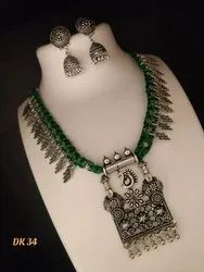 Black and Green Antique Oxidized Necklace Set, Packaging Type: Box