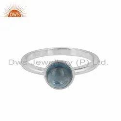 London Blue Topaz Gemstone 925 Sterling Fine Silver Ring