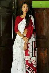 Bagru Hand Batik Print Cotton Mulmul Saree